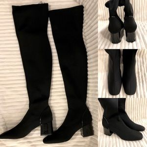 Zara Black Stretch Thigh High Boots Size 9 NWT